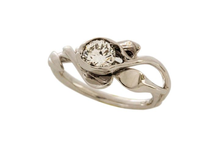 White Gold & Diamond Leaf Ring