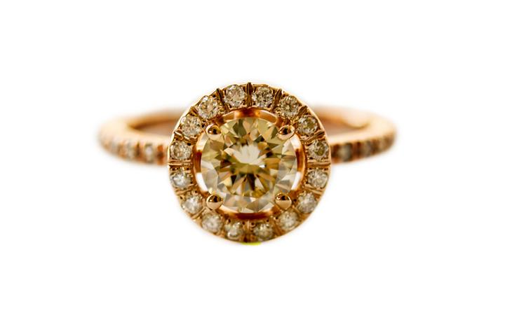 Rose Gold, Fancy Yellow Diamond & White Diamond Ring