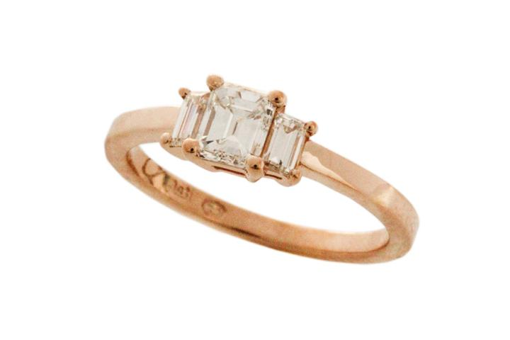 Rose Gold & Emerald Cut Diamond Trilogy Ring