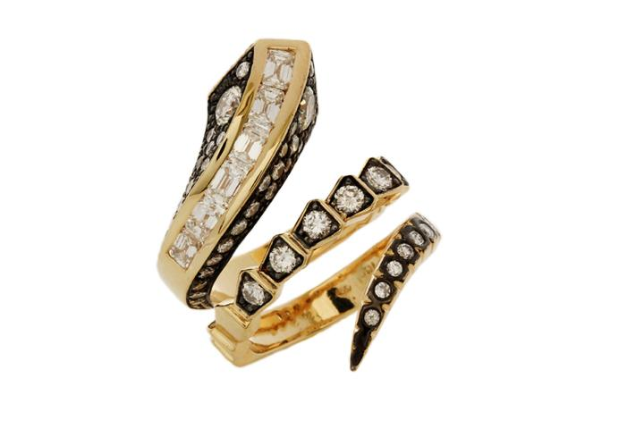 Diamond Snake Ring in Yellow Gold & Black Rhodium Plating