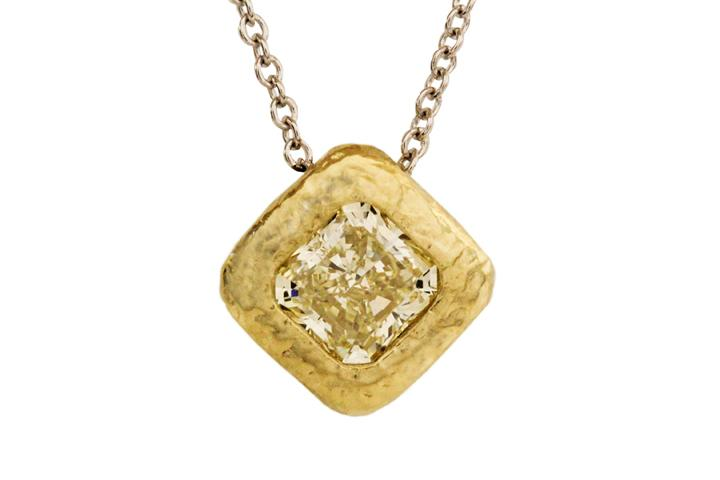 Yellow Gold Fancy Yellow Radiant Cut Diamond Pendant with Hammered Texture