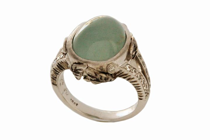 White Gold, Chalcedony & Diamond Ring