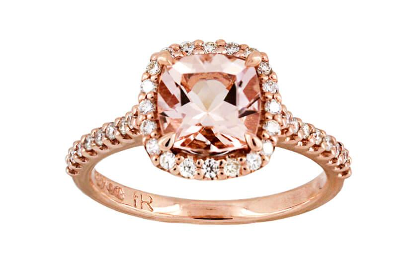 Morganite And Diamond Initial Ring A