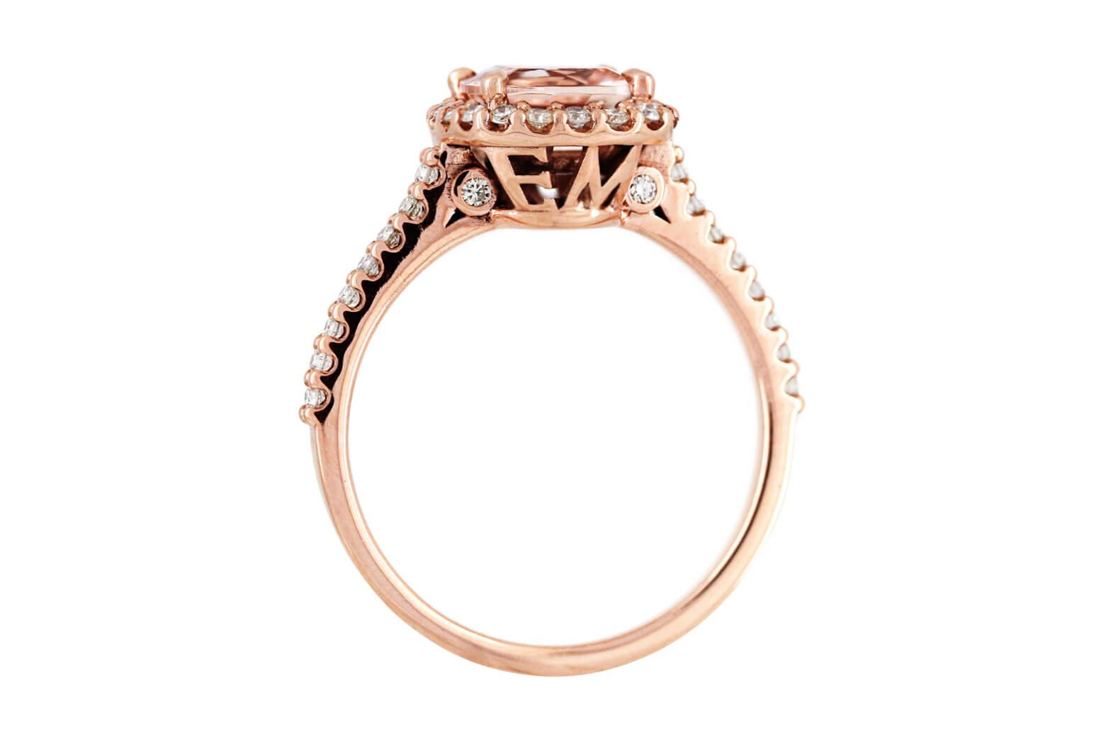 Morganite And Diamond Initial Ring B