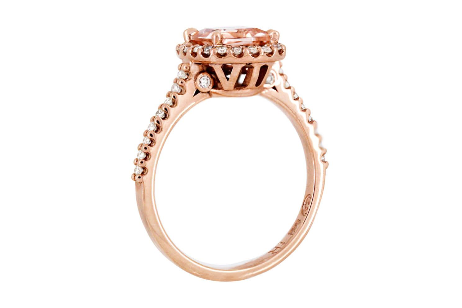Morganite And Diamond Initial Ring C