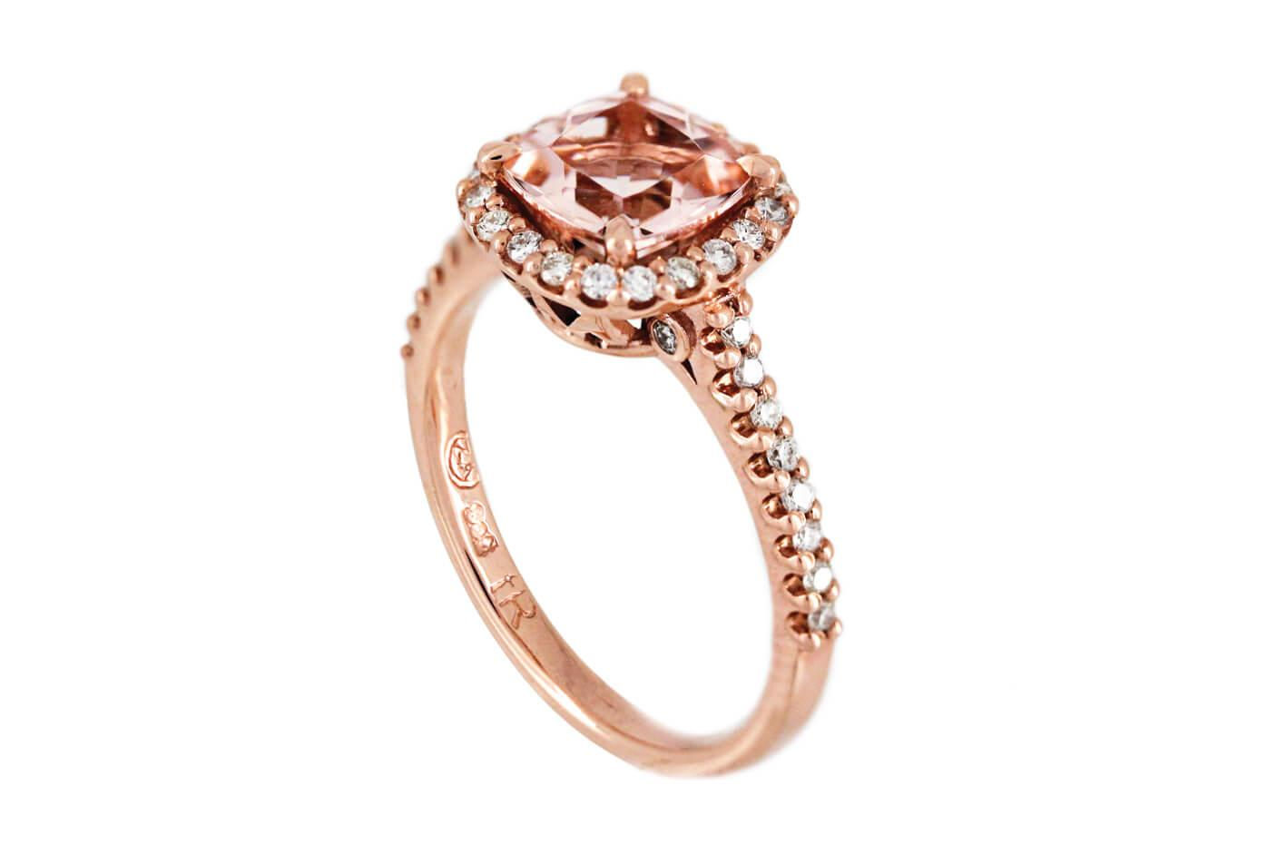 Morganite And Diamond Initial Ring E