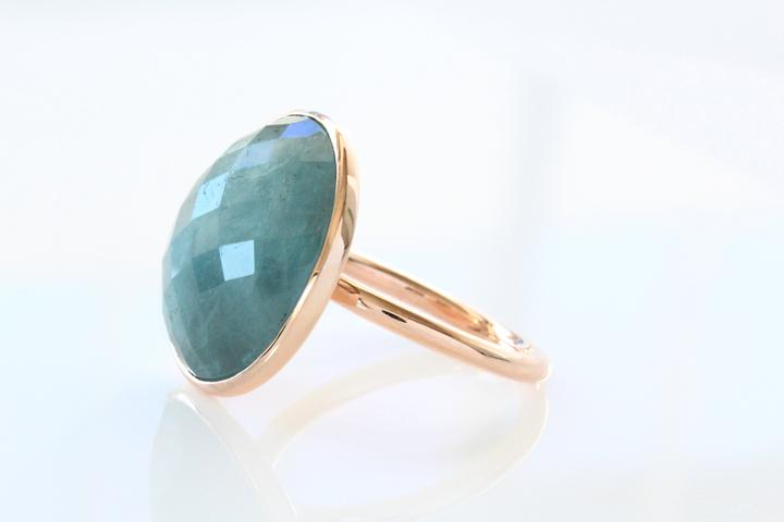 Aquamarine Rose Gold Ring