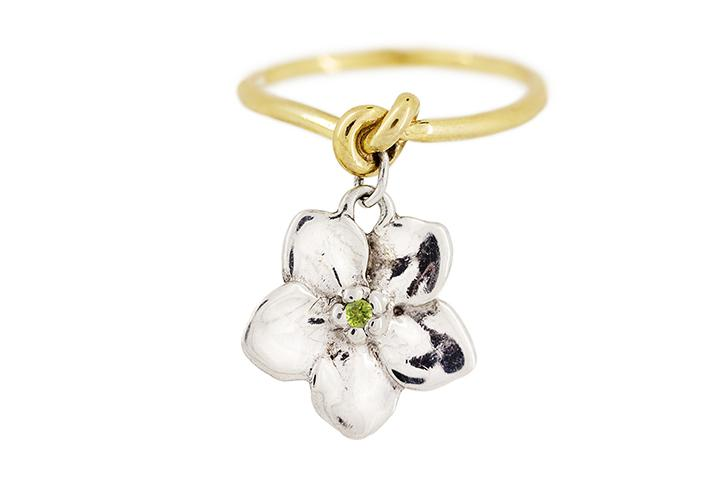 Peridot Forget me Knot Ring in 18ct Yellow Gold & Silver