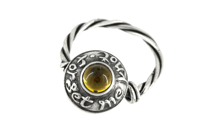 Citrine and Silver Message Ring