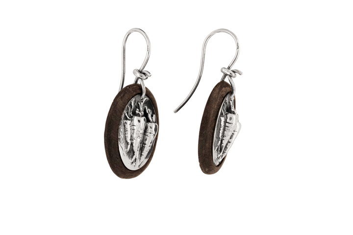 Silver and Wood Carrot Earrings