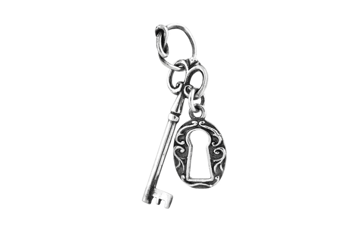 Silver Fancy Key and Lock Pendant