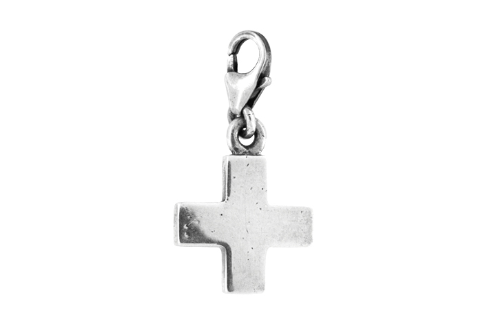 Silver Square Cross Charm