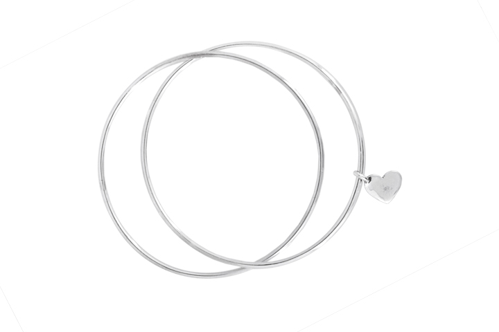 Silver Double Bangle with Heart Charm