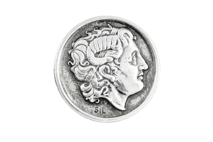 Silver Coin Lapel Badge - Head