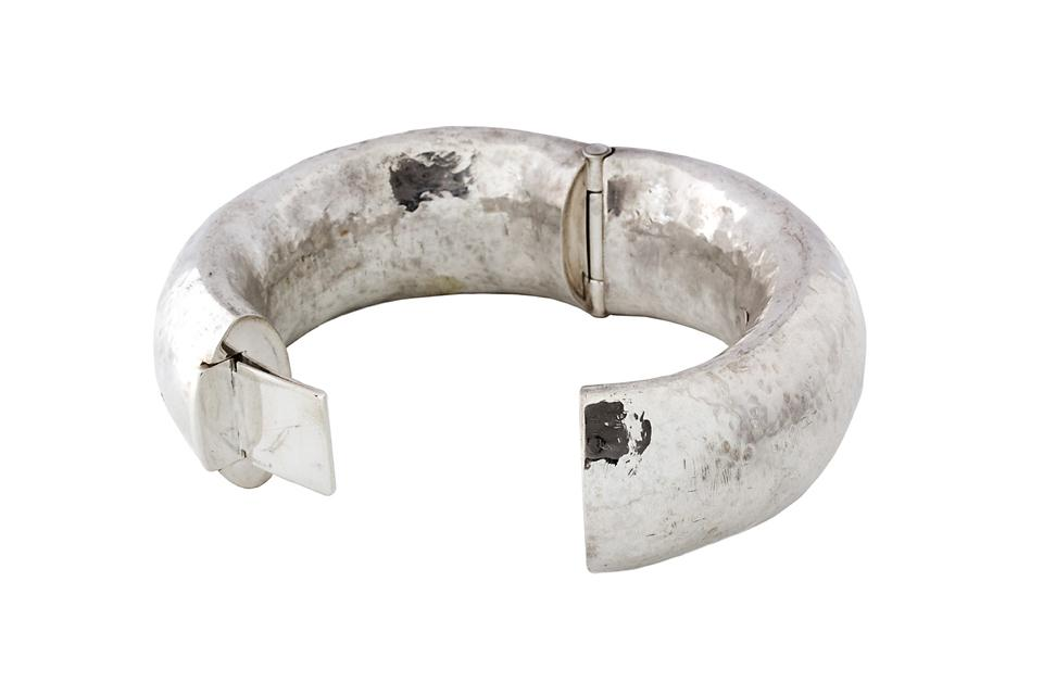 Silver Hand Forged Hinged Bangle