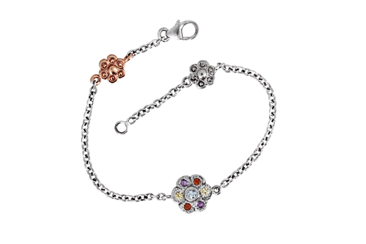 Multicolour Gemstone, Silver and 9ct Rose Gold Bracelet
