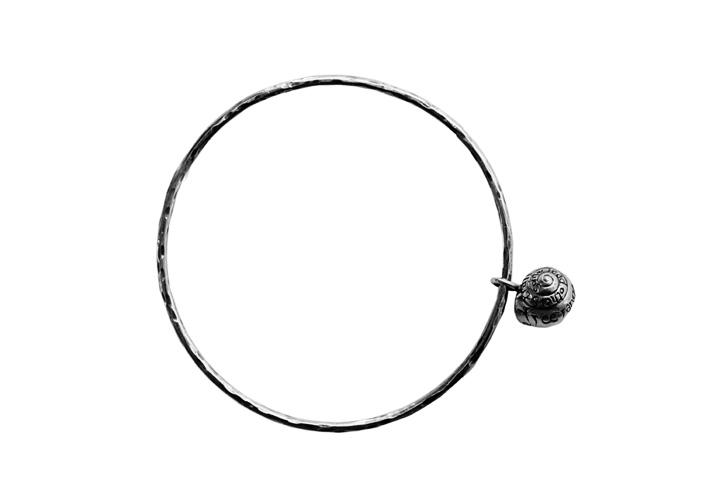 Silver bangle with Snail charm