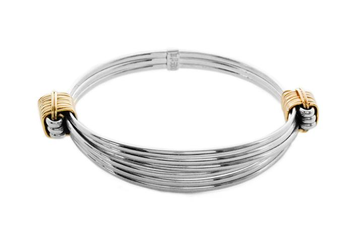 Silver & 9ct Yellow gold wire