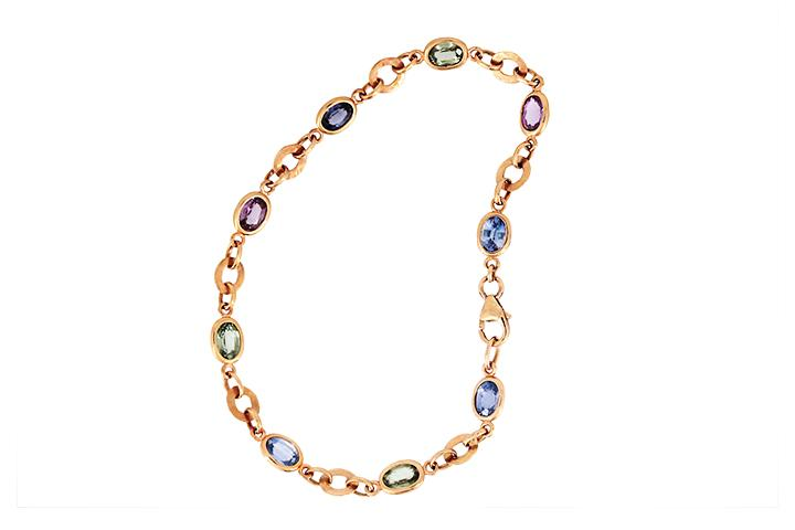Sapphire and 9ct Rose Gold Bracelet