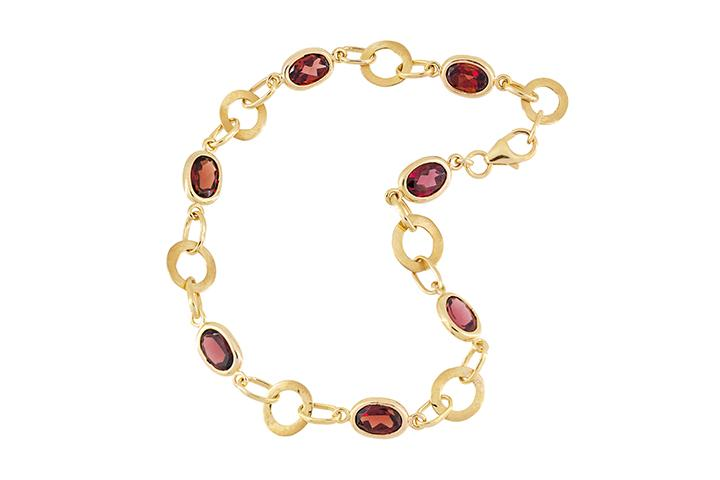 Garnet and 9ct Rose Gold Bracelet
