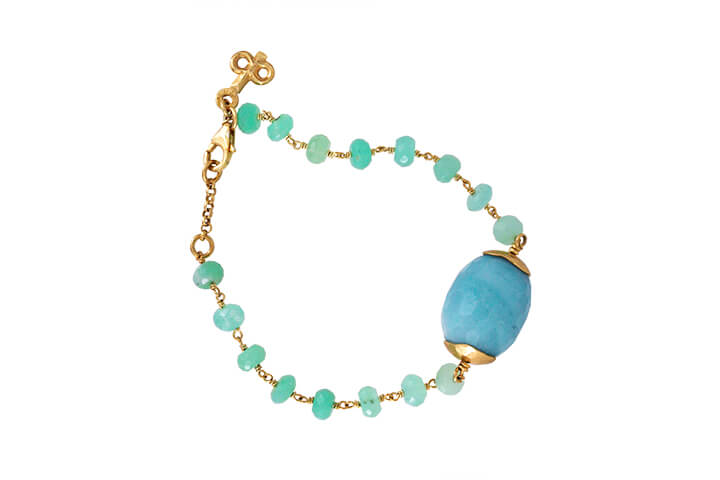 Chrysoprase and Amazonite Bead Bracelet in Gilded Silver