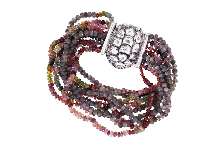 Tourmaline and Moonstone Bracelet with Tortoise Clasp