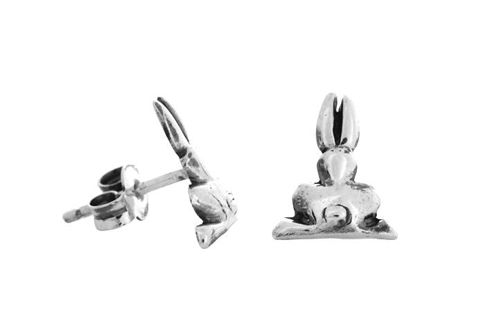 Silver Riverine Rabbit stud earrings (back profile)