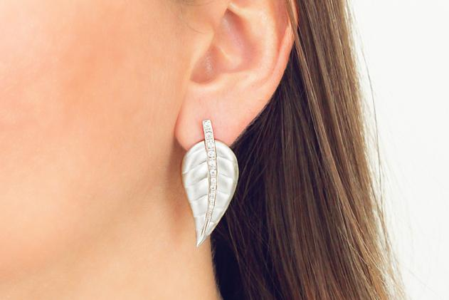 9ct White Gold and Diamond Leaf Earrings