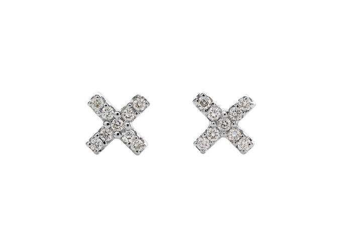 Silver and Diamond Cross Earrings