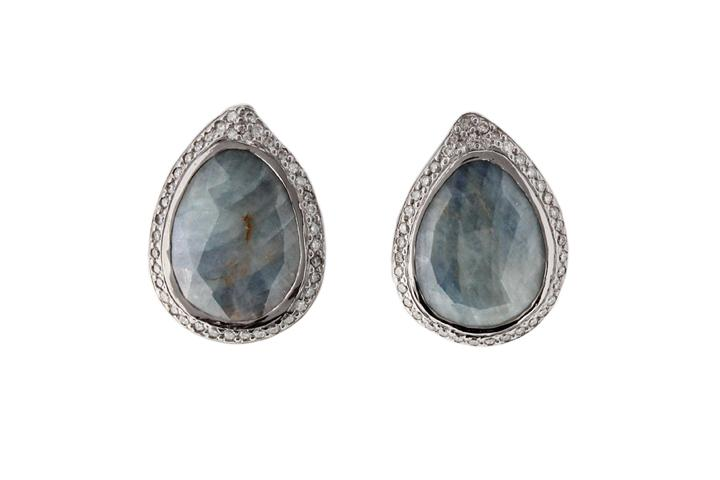 14ct White Gold, Rose Cut Sapphire and Diamond Earrings