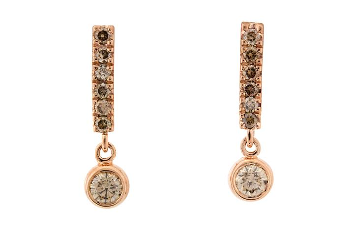 9ct Rose Gold and Cognac Diamond Earrings