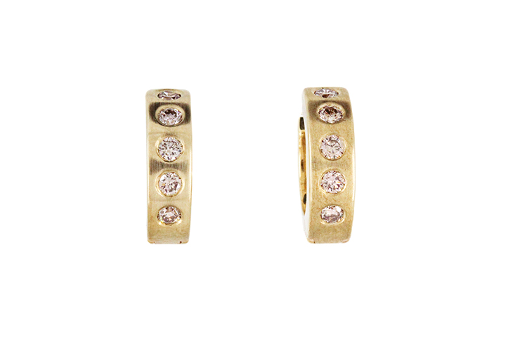 Champagne Diamond Huggie Earrings in 9ct Yellow gold
