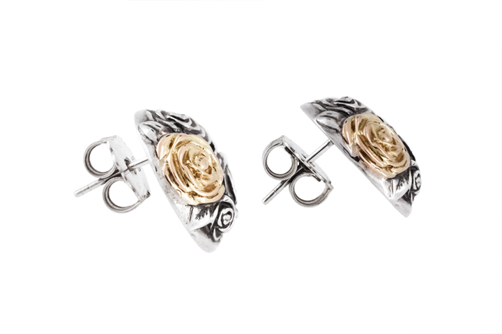 Silver & 9ct Rose Gold Rose Stud Earrings