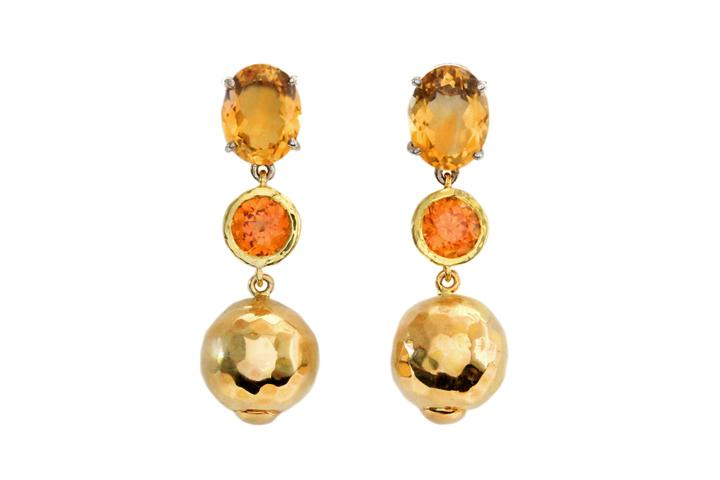 18ct Yellow & 9ct Rose Gold, Silver, Citrine and Spessartine Drop Earrings