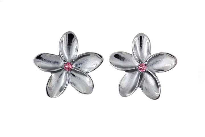 Pink Tourmaline, Black Rhodium Plated Silver Frangipani Earrings (large)