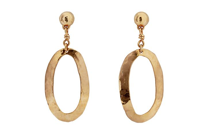 Rose Gold Beaten Oval Disc Earrings
