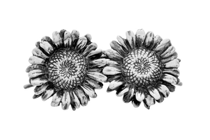Silver Oxidized sunflower earrings