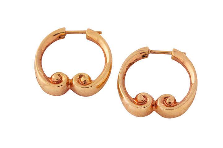 Athena Earrings (Round) in 9ct Rose Gold