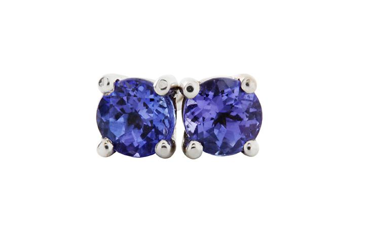 Tanzanite 4-claw Studs in 9ct White Gold
