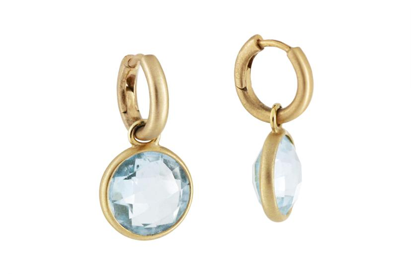 Blue Topaz and 18ct Yellow Gold Drop Earring