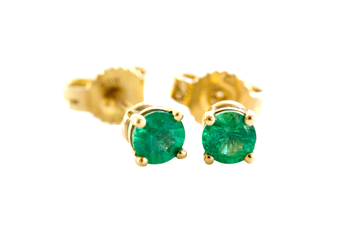 9ct Yellow Gold Emerald Studs