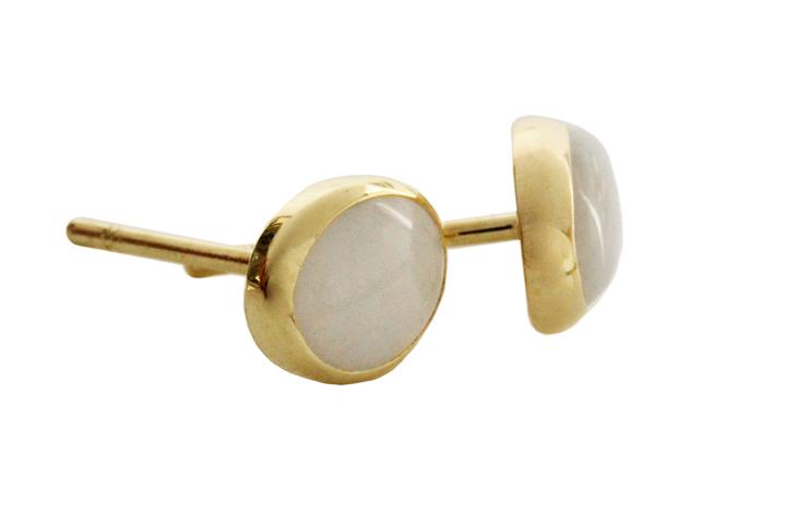 18ct Yellow gold Oval white Opal earrings