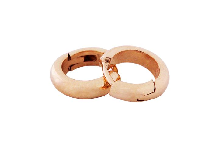 D-shape 9ct Rose Gold Huggies (med)