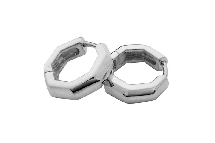Octagon huggies (sml) in Silver