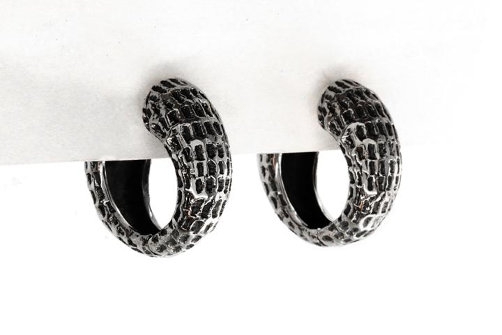 Silver Textured Domed Hoop Earrings