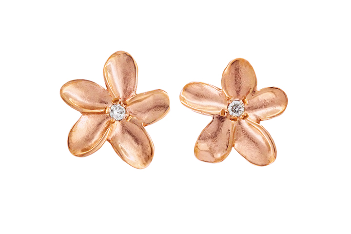 9ct Rose Gold Frangi Studs with White Diamond Centres