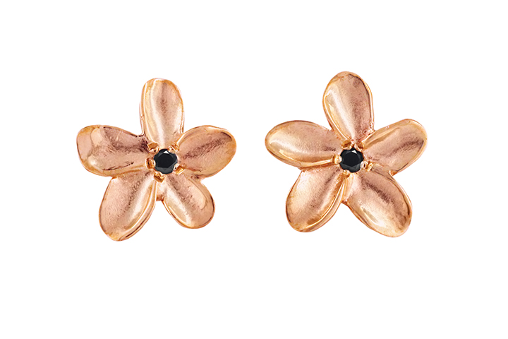 9ct Rose Gold Frangi Studs with Black Diamond Centres