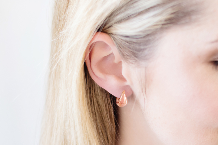 9ct Rose Gold Teardrop Shaped Huggie Earrings