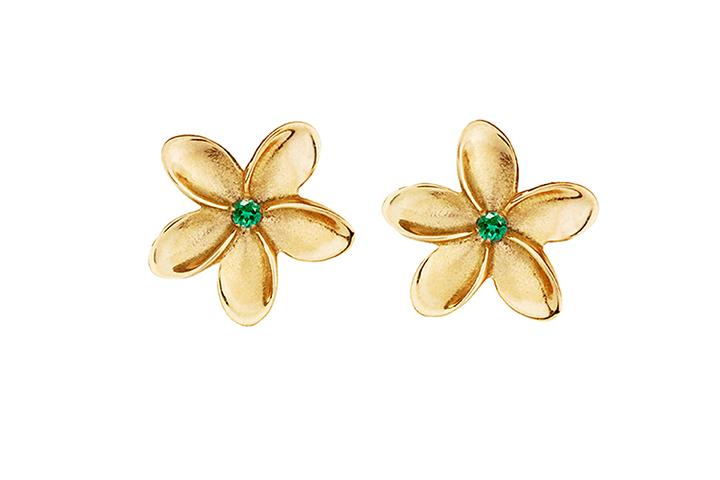 9ct Yellow Gold & Emerald Frangi Studs