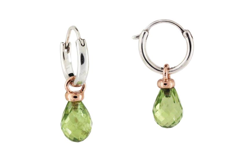 Peridot, 9ct Rose Gold and Silver Drop Earrings